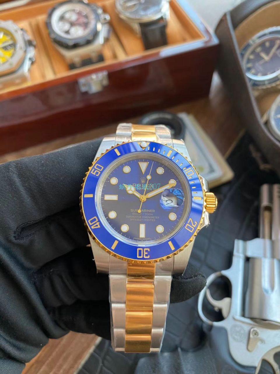 VR厂劳力士复刻包金手表潜航者型间金蓝水鬼116613LB-97203 蓝盘腕表