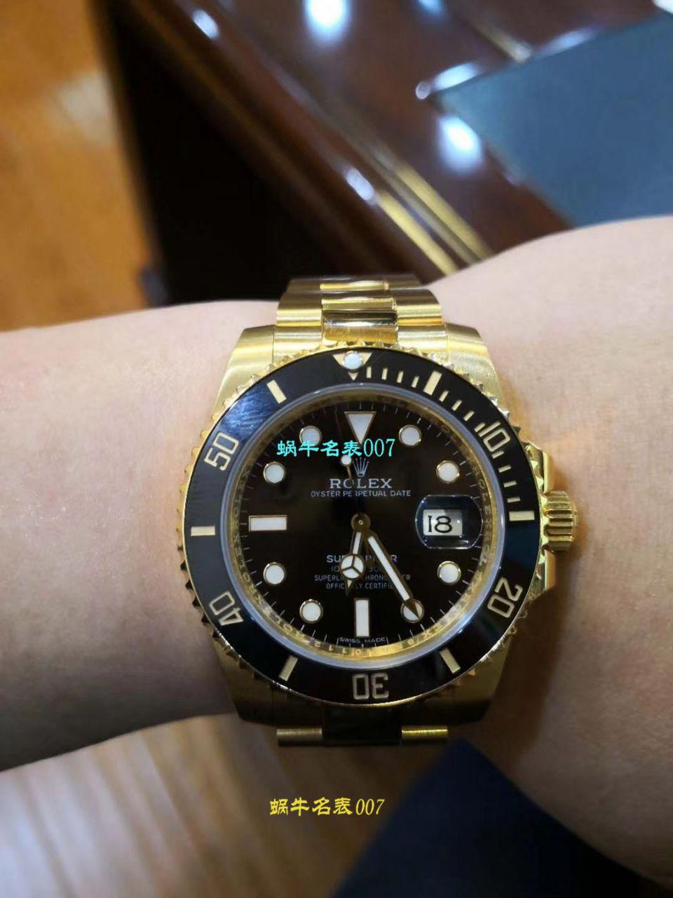 【VR一比一超A高仿手表土豪全18K包金黑水鬼~】劳力士潜航者型系列116618LN-97208 黑盘腕表