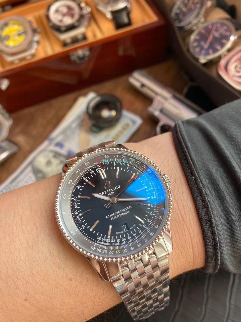 V7厂顶级复刻手表百年灵航空计时1系列A17326211B1A1腕表 / BL185