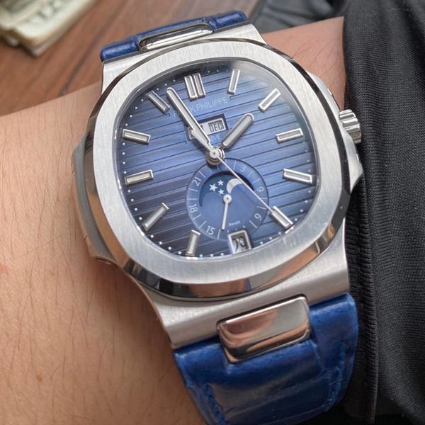 GR厂高仿百达翡丽PatekPhilippe手表多少钱鹦鹉螺V2真月相5726/1A-014皮带款