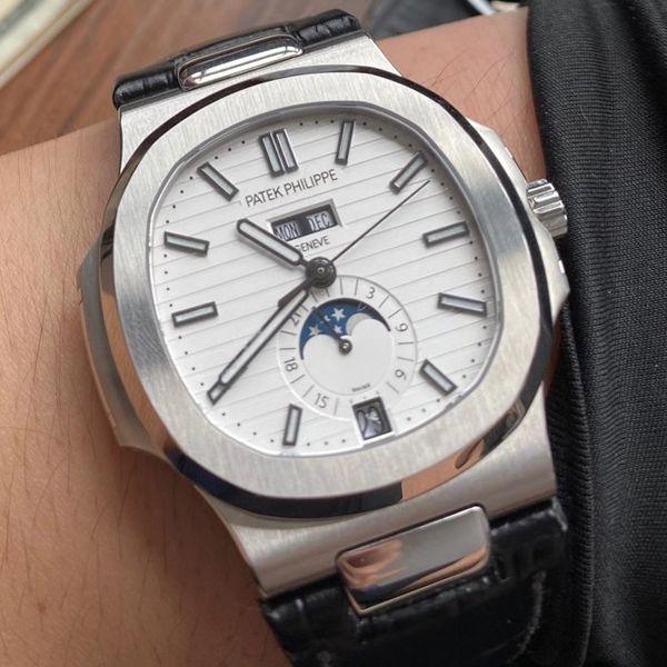 GR厂百达翡丽顶级复刻手表价格最好版本鹦鹉螺V2真月相5726/1A-010皮带款