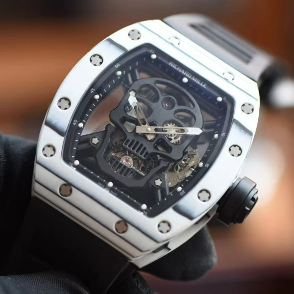 【视频评测】JB厂理查德米勒RM52-011比1精仿手表真陀飞轮碳纤维骷髅头鬼王