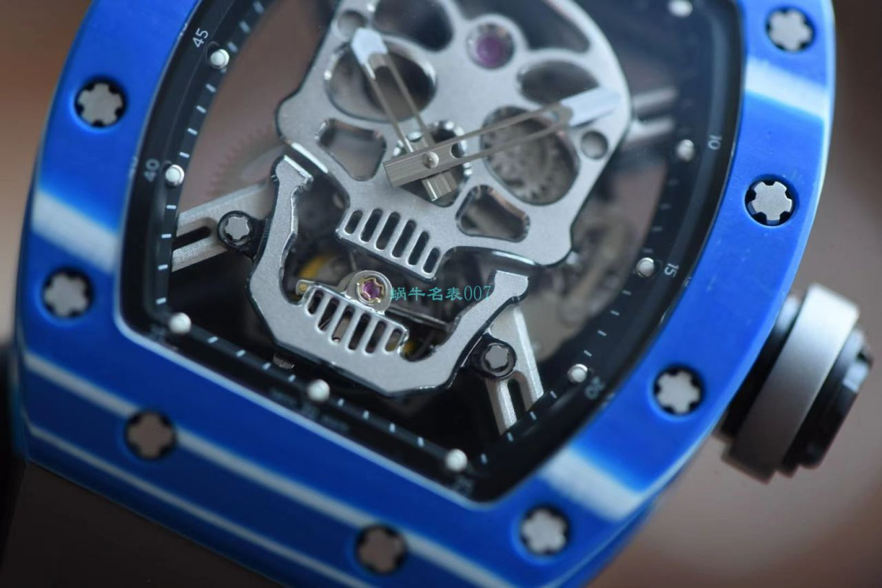 【视频评测】JB厂理查德米勒RM52-011比1精仿手表真陀飞轮碳纤维骷髅头鬼王 / RM52-01B