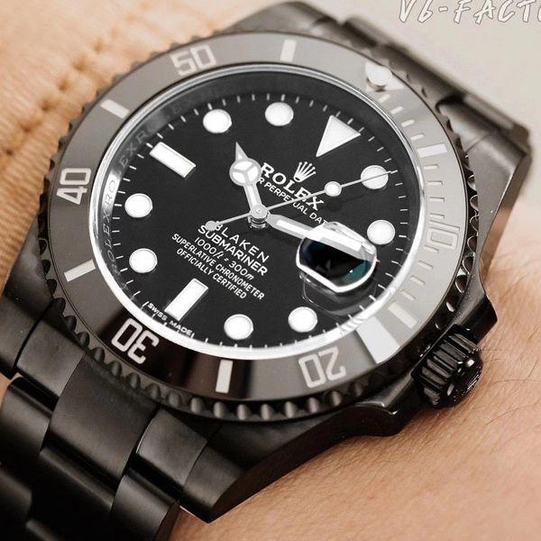 V6厂魔改装劳力士黑水鬼暗夜黑特别版BLAKEN 116610LN SUBMARINER DATE手表