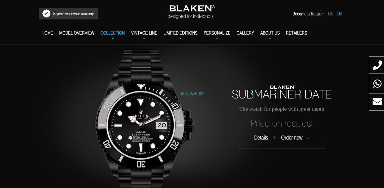 V6厂魔改装劳力士黑水鬼暗夜黑特别版BLAKEN 116610LN SUBMARINER DATE手表 / R672