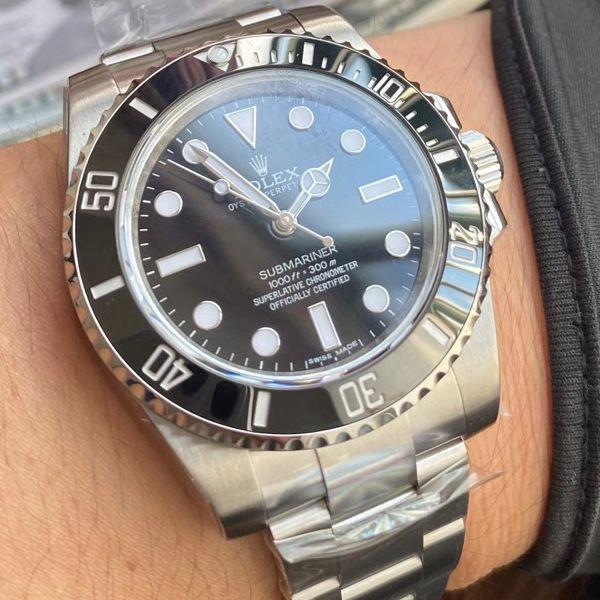 AR厂劳力士潜航者型1比1高仿手表无日历无历黑水鬼114060-97200 黑盘腕表
