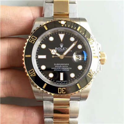 【N厂V7版一比一复刻手表】劳力士潜航者型系列116613-LN-97203《间金黑盘》黑盘机械腕表