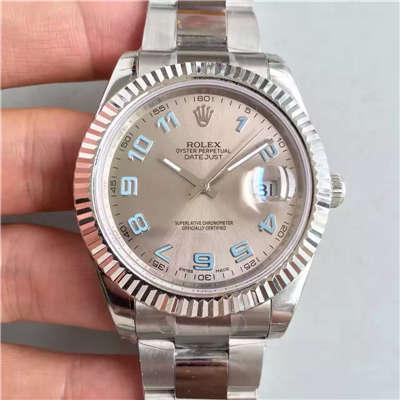 【EW厂一比一高仿手表】劳力士日志型系列116334-72210铑白盘腕表