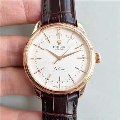 【MK厂一比一精仿手表】劳力士切利尼系列50505白盘棕带机械腕表