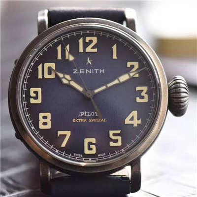 【独家视频测评XF厂一比一超A高仿手表】真力时飞行员系列11.1940.679 / 53.C808复古大飞腕表