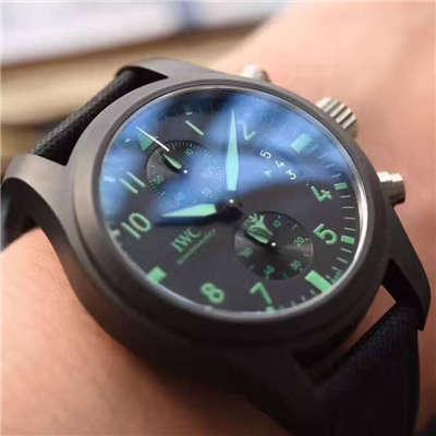 【HBBV6厂1:1复刻手表】万国飞行员系列TOP GUN海军陆战队专用IW388003绿色特别版腕表价格报价