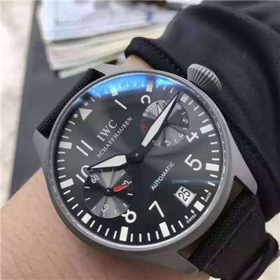 【实拍图鉴赏】YL厂1:1超A高仿手表之万国大飞特别版新款-喷砂精钢壳套黑面男表