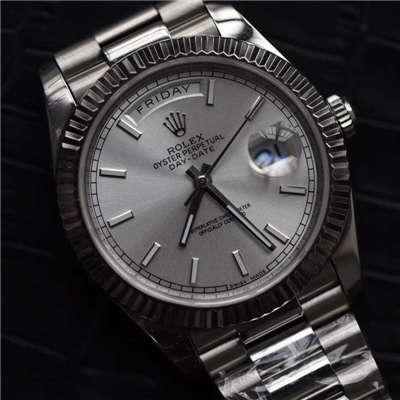 【EW厂1:1精仿手表】劳力士星期日历型系列228239银色表盘男表