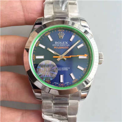 【JF厂1:1精仿手表】劳力士MILGAUSS系列116400-GV-72400蓝盘腕表《蓝色闪电》