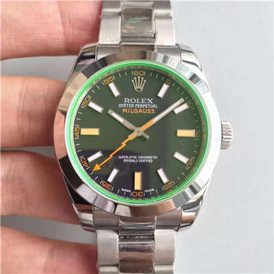 【JF厂1:1高仿手表】劳力士MILGAUSS系列116400-GV-72400黑盘腕表《黑色闪电》