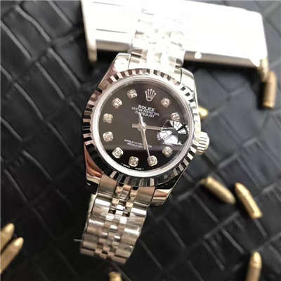 【台湾厂一比一超A高仿手表】劳力士女装日志型系列179174黑盘镶钻女士腕表价格报价