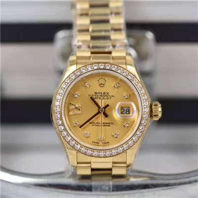 【SY厂1:1超A高仿手表】劳力士女装日志型系列279138RBR香槟盘腕表