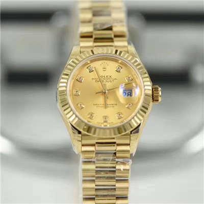 【SY厂一比一顶级复刻手表】劳力士女装日志型系列279178香槟色镶钻腕表
