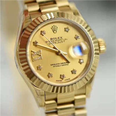 【SY厂一比一超A高仿手表】劳力士女装日志型系列279178香槟色女士腕表