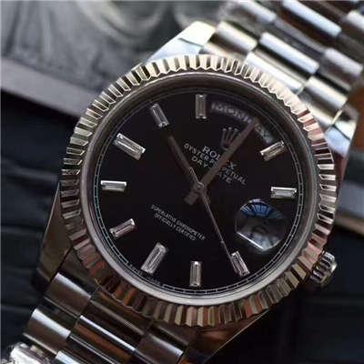 【台湾厂一比一超A高仿手表】劳力士星期日历型系列228239黑色表盘钻钉腕表价格报价