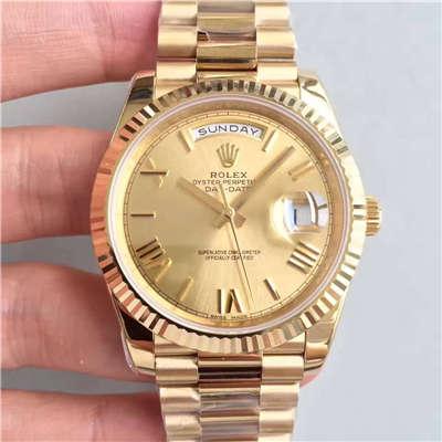 【N厂一比一精仿手表】劳力士星期日历型系列218238-83218 香槟色表盘腕表