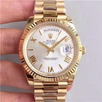 【N厂一比一超A高仿手表】劳力士星期日历型系列218238-83218 白盘腕表