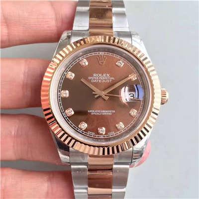 【NOOB厂1:1顶级复刻手表】劳力士日志型系列126331巧克力盘镶钻腕表
