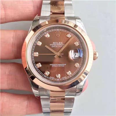 【NOOB厂一比一超A高仿手表】劳力士日志型系列126301巧克力色盘纪念型表带腕表