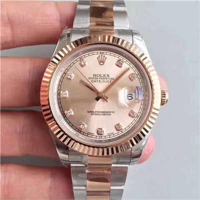 【NOOB厂一比一高仿手表】劳力士日志型系列126331粉盘镶钻腕表