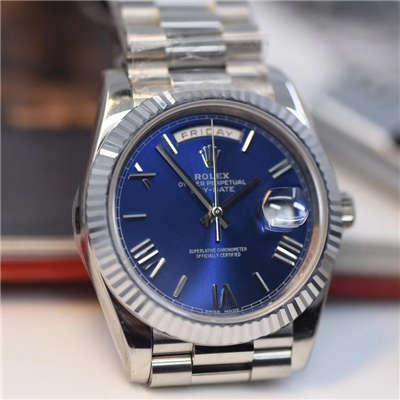 【视频评测NOOB厂一比一高仿】劳力士星期日历型系列228239蓝盘男士机械手表