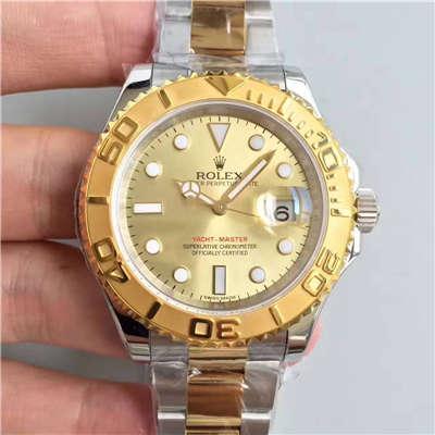 【JF厂一比一超A高仿手表】劳力士游艇名仕型系列168623-78753 香槟色表盘腕表
