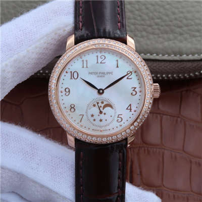 【KG一比一超A高仿手表】百达翡丽复杂功能计时系列4968R-001 玫瑰金女士腕表价格报价