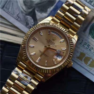 【台湾厂一比一超A精仿手表】劳力士星期日历型系列228238香槟色表盘钻钉腕表