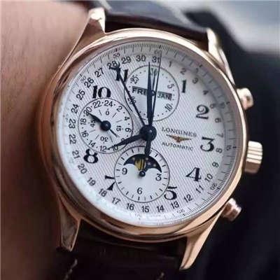 【视频评测YL厂顶级复刻手表】浪琴新款名匠系列 L2.773.4.78.6八针月相男表(自动锤L678.2刻字)