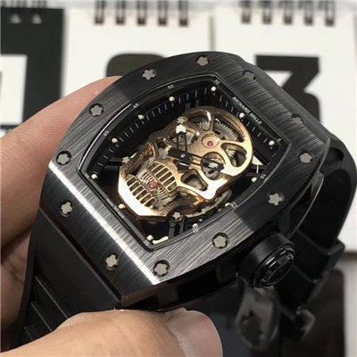 【KV厂一比一超A高仿手表】理查德.米勒男士系列RM 52-01潘玮柏同款金色骷髅头腕表