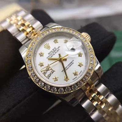 【SY一比一超A高仿手表】劳力士女装日志型系列白色镶钻表盘女士腕表