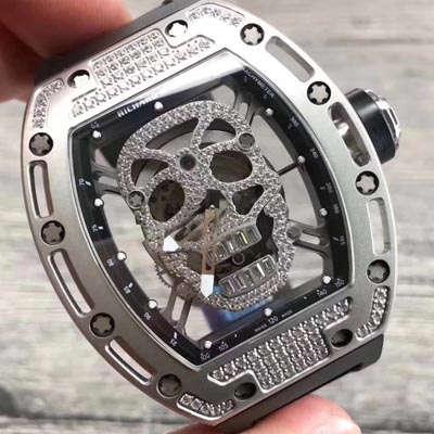 【KV一比一超A高仿手表】理查德.米勒RICHARD MILLE男士系列RM 052银色骷髅头满钻腕表