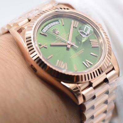 【独家视频评测N厂超A一比一高仿手表】劳力士day date星期日历型系列228235绿盘腕表
