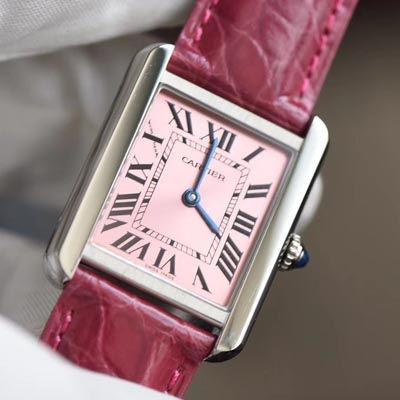 【独家视频测评K11厂一比一超A高仿手表】卡地亚坦克系列 W5200000 粉色女士石英腕表
