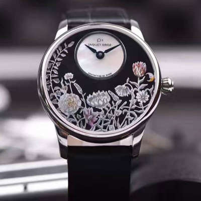 【视频讲解】雅克德罗艺术工坊精品女表!精美两针设计,天热贝母加彩绘艺术图案表面