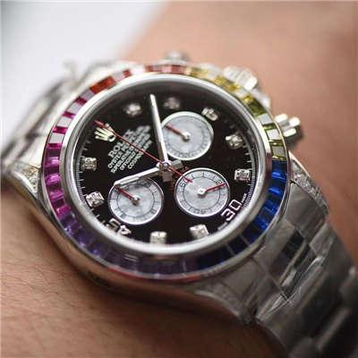 【台湾厂一比一超A高仿手表】劳力士宇宙计型彩虹迪通拿系列116599 RBOW机械腕表