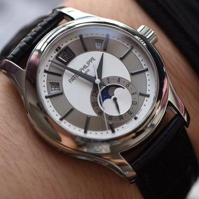 【GP厂复刻百达翡丽手表价格】PATEK PHILIPPE复杂功能计时系列5205G-001 白金腕表